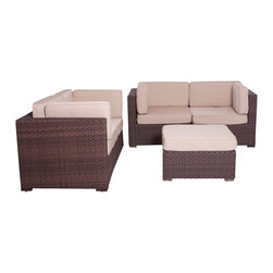 International Home Miami - Atlantic Nice Conversation 4-Piece Patio Set Deluxe - Great quality, stylish design patio sets, made entirely of high quality resin. No metal parts. I won't rust. Polyester cushion with water repellant treatment. Enjoy your patio with elegance all year round with the wonderful Atlantic outdoor collection.