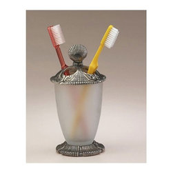 Anne At Home - Oceanus Toothbrush Holder - Hand cast and finished. Made in the USA. Pewter , Steel . Collection: Oceanus. 2.5 in. L x 2.75 in. W x 6.5 in. H