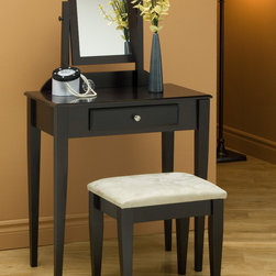 Monarch - 2Pcs Vanity Set in Cappuccino with a Microfiber Stool - This stylish contemporary vanity set will be a fabulous addition to your bedroom or dressing area. Create a peaceful space to get ready for your day, or a great place to dress for a fun night out. This piece features smooth lines, shaker legs, a vertical swivel mirror, and a center drawer to keep brushes and other objects. Finished in a rich cappuccino tone and accented with a silver brushed knob, this vanity set will add sophistication to any room. The matching stool features sleek wooden legs, accompanied with a comfortable padded fabric covered seat.