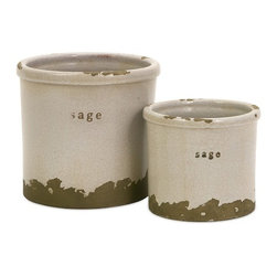 """IMAX CORPORATION - Sage Herb Pots - Set of 2 - Perfectly sized, this set of two sage herb pots is made of red clay and kiln fired to perfection. Finished in a white crackle glaze, rough edges are purposely exposed to add character. Set of 2 in various sizes measuring around 6.75""""L x 6.75""""W x 3.25""""H each. Shop home furnishings, decor, and accessories from Posh Urban Furnishings. Beautiful, stylish furniture and decor that will brighten your home instantly. Shop modern, traditional, vintage, and world designs."""