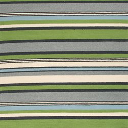 Jaipur Rugs - Stripe Pattern Green Indoor/ Outdoor Rug - CO01, 7.6x9.6 - Bring visual pop to outdoor living with the Colours I-O Collection. This energetic range of stripe, zigzag and stair-step designs bring together a myriad of multicolor palettes all in durable, hand-hooked polypropylene construction. With its fashion-forward styles and bold scale, each design can function in a broad range of contemporary and transitional spaces both indoor and out.