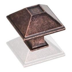 "Hardware Resources - Jeffrey Alexander Tahoe Rustic 1-1/4"" Square Knob - Dark Machined Antique Copper - Length - 1.25 inch, Width - 1.25 inch, Height - 1.19 inch, Finish - Dark Machined Antique Copper"