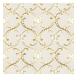 Pale Yellow Embroidered Scroll Chain Fabric - Elegant, classic swirling chainlink trellis embroidered in pale yellow & gold.Recover your chair. Upholster a wall. Create a framed piece of art. Sew your own home accent. Whatever your decorating project, Loom's gorgeous, designer fabrics by the yard are up to the challenge!
