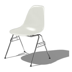 Herman Miller - Eames Molded Plastic Side Chair - This Herman Miller product uses the same design developed by Ray and Charles Eames in the late 1940s but with new and eco-friendly materials. The polypropylene shell is both recyclable and durable. The shell is dyed throughout in order to retain vibrant colors even after years of hard use. This particular model features a 4 Leg base. For ultimate comfort the shell is connected to the 4 Leg base by rubber shock mounts. The four legs are firmly connected to the base of the seat to prevent sliding or marking on floors. The Molded Plastic Side Chair with its chrome 4-legged base is also stackable allowing for easy and efficient storage. The chair has achieved a pervasive presence that proves the staying power of a design that provides both comfort and style.