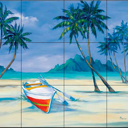 The Tile Mural Store (USA) - Tile Mural - Archipelago 1 - Kitchen Backsplash Ideas - This beautiful artwork by Paul Brent has been digitally reproduced for tiles and depicts a small piece of paradise.  Beach scene tile murals are great as part of your kitchen backsplash tile project or your tub and shower surround bathroom tile project. Waterview images on tiles such as tiles with beach scenes and sunset scenes on tiles.  Tropical tile scenes add a unique element to your tiling project and are a great kitchen backsplash  or bathroom idea. Use one or two of our beach scene tile murals for a wall tile project in any room in your home for your wall tile project.