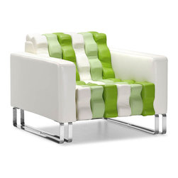 "Tosh Furniture - Moncalieri Chair White & Green - A truly unique chair, the Moncalieri seats incredibly comfortable with an all leatherette wrapped body and plush cushions with chrome solid steel legs. White & Green; Leatherette; Chromed Steel Finish; Some assembly required; Overall dimensions: 33""W x 35.4""L x 27""H; Seat Height: 15""; Seat Depth: 22.6"""
