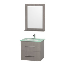 "Wyndham Collection - Wyndham Collection 24"" Centra Grey Oak Single Vanity w/ Square Porcelain Sink - Simplicity and elegance combine in the perfect lines of the Centra vanity by the Wyndham Collection. If cutting-edge contemporary design is your style then the Centra vanity is for you - modern, chic and built to last a lifetime. Available with green glass, or pure white man-made stone counters, and featuring soft close door hinges and drawer glides, you'll never hear a noisy door again! The Centra comes with porcelain sinks and matching mirrors. Meticulously finished with brushed chrome hardware, the attention to detail on this beautiful vanity is second to none."