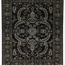 Rug Knots - Traditional Chobi Ziegler Oriental Rug with Borders Black and Blue 8x10.3 - Romance is knotted into every fiber of this intriguing rug, which features feather-soft greys, gothic blacks, creamy whites, and sky blues. A cool elegance is achieved by mixing an intricate design with refreshing colors. This rug would look great in a strictly neutral space; on the other hand, it would set off a red sofa or bright yellow table perfectly. Entirely handmade at the RugKnots factory in Pakistan, this rug is truly a work of art. Lovely floral motifs are scattered across the rug's figure in perfect symmetry, and soft, curved lines give this rug charming, enchanting character.