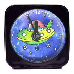 "UFO Alarm Clock - On our UFO Alarm Clock, a llittle martian flies around the spaceship as it counts the seconds. Each 2.25"" square alarm clock comes in a gift box and includes a free battery. Made in the USA. (Be sure to look for our UFO wall clock, night light and magnets, too!)"