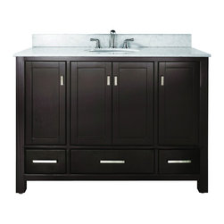 """Avanity - Avanity MODERO-VS48-C Modero 49"""" Vanity Set in Espresso with Vanity Top in Carre - Avanity MODERO-VS48-C Modero 49"""" Vanity Set in Espresso with Vanity Top in Carrera WhiteThe Modero Vanity Set has a simple clean design with a rich espresso finish and brushed nickel hardware. It is constructed of solid birch wood and veneer construction with soft-close doors and drawers that showcase its quality.  It comes with a white vitreous undermount sink and you can choose from several granite stone counter tops with backsplash. Add the coordinating mirror, mirrored storage cabinet or linen tower to complete the look of your bathroom (each sold separately).Please see our Delivery Notes for Freight Shipments for products that are oversized and/or are too heavy to ship UPS ground. Avanity MODERO-VS48-C Modero 49"""" Vanity Set in Espresso with Vanity Top in Carrera White, Features:bull; Dimensions: 49"""" w x 22"""" d x 35"""" h"""