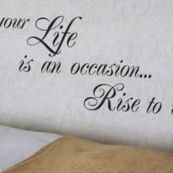 Decals for the Wall - Wall Decal Art Sticker Quote Vinyl Lettering Large Rise to the Occasion Life J51 - This decal says ''Your life is an occasion… rise to it''