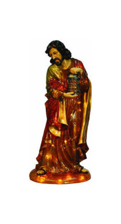 Christmas Nativity Set - Joseph - Start your own Nativity scene with a Joseph figure. This Christmas decoration is illuminated from within by clear, incandescent Christmas mini lights. The Joseph figure stands 2 feet, 8 inches tall and 20 inches wide with crisp, fade resistant colors. Suitable for indoor or outdoor use, the chip resistant fiberglass construction makes it ideal to stand in both commercial and home Christmas displays. With proper storage, this figure will last for generations to come.