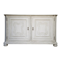 """Noir - Noir Kristianse White Weathered Sideboard - Featuring natural, simple and classic designs, Noir products supply a timeless complement to a variety of interiors. Nuanced carvings lend depth and dimension to the boxy frame of the bun-footed Kristianse sideboard. The furnishing's mahogany wood feels refreshed in a weathered white finish, while two doors reveal ample storage for dining rooms or living rooms.  72""""W x 20.5""""D x 43""""H."""