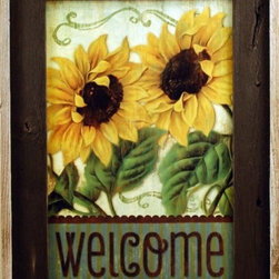MyBarnwoodFrames - Sunflower Welcome Sign Framed in Brown Wash Reclaimed Wood Frame - Sunflower Welcome Sign - Country print in reclaimed barnwood picture frame with brown wash.  Two large, bright sunflowers welcome your guests at the door. Natural reclaimed wood frame. Print designed by Mollie B. Frame is made in USA from authentic reclaimed wood.