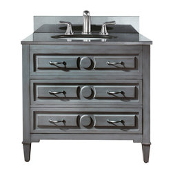 Avanity - Kelly Vanity Combo, Black Granite Top - For those who don't always see things in black or white, this gray vanity provides you with a neutral choice. It has a great transitional style that works well in both modern and traditional settings and is perfectly sized for your guest bath. Or, place two side by side in the master bath.