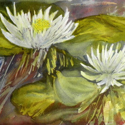 Water Lilies (Original) by Joann Culligan - Water Lilies' started with a pouring of watercolor paint on the paper.  The paper is moved in different directions to control the flow of the paint.  Once dry, the rest of the painting is completed.  All the white areas of the painting is the paper, not the paint.  T