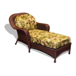 Tortuga Outdoor - Tortuga Outdoor Lexington Wicker Cushion Chaise Lounge - The Lexington Chaise Lounger is made to love with its great colors and lasting resin wicker materials. With beautiful curves and gorgeous fabric choices this chaise lounge chair will have your heart. This piece has a 2 year warranty and a sturdy aluminum frame. Our flagship wicker furniture collection defined by its elegant traditional design deep seating comfort and rugged all-weather wicker for durability. The frames are very strong and constructed of welded tubular aluminum then powder coated for extra protection. The plush thick seating cushions are made of outdoor weatherproof fabric and fiber filing. The fabric is treated for stain resistance and includes a UV protectant to prevent fading. The ?slips? are replaceable and unzip with ease from the spun fiber cushion. This outdoor wicker furniture collection includes a wicker rocker wicker sofa swivel bar stools and bar table settee glider club chair and settee wicker club chair wicker chaise lounge side table coffee table and a wicker patio dining set. This broad array of options gives you the versatility to create your own custom outdoor wicker patio set suitable for any indoor or outdoor patio set environment.Tortuga Outdoor is the leader in weather-resistant outdoor patio furniture. The rust-proof lightweight reinforced aluminum frames provide excellent stability and versatility for dining or lounge requirements suitable for indoor OR outdoor use. Their resin synthetic wicker is hand-woven and provides comfortable support with a stylish look. Unlike natural rattan or wood it will not splinter rot or decay. All of the Tortuga Outdoor furniture selection is classic elegantly designed resin wicker furniture for every occasion. Whether it be a casual get-together or a formal evening dinner Tortuga Outdoor provides the perfect setting! Features include Outdoor all weather wicker -unlike natural wicker our all weather wicker is is stain water uv crack and split resistant Powder coated aluminum frame 100% spun polyester cushions Mildew and fade resistant fabric Available in three wicker choices; Java Mojave and Tortoise Several fabric patterns available Frame - 35 x 63 x 34.5.