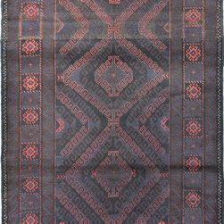 """ALRUG - Handmade Black Oriental Tribal Baluchi Rug 3' 7"""" x 6' (ft) - This Afghan Baluchi design rug is hand-knotted with Wool on Wool."""