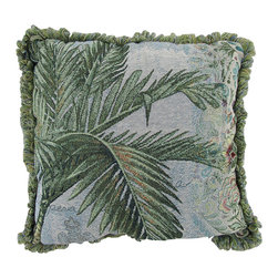 Manual - Easy Breezy Tropical Palm Tree Tapestry Throw Pillow 17 In. - This 17 inch woven tapestry throw pillow adds a wonderful tropical accent to your home. Titled 'Easy Breezy', the front of the pillow features a print of palm fronds, sand and churning waves, and is a cotton/polyester blend. The back of the pillow is 100% cotton, and is solid dark green. The pillow has 1 inch long looped fringe around all four sides. Each of these pillows is crafted with pride in the Blue Ridge Mountains of North Carolina, and is a quality accent to your home. This pillow makes a great gift and is sure to be admired.
