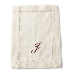 Frontgate - SFERRA Festival Set of 4 Monogrammed Cocktail Napkins - 100% medium-weight linen. Placemats and napkins sold in sets of four. Find your size tablecloth with our measuring guide.. Machine wash gentle cycle with gentle detergent. Dinner and cocktail napkins come in non-monogrammed or monogrammed styles. Woven in Europe and sewn with an elegant hand thread-drawn hemstitched hem, our SFERRA Festival Table Linens come in a range of bold, luscious colors that are sure to complement your favorite dinnerware.  .  . .  . . Made in Italy by SFERRA. Please note: Personalized items are non-returnable.