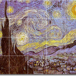 Picture-Tiles, LLC - The Starry Night Tile Mural By Vincent Van Gogh - * MURAL SIZE: 32x40 inch tile mural using (20) 8x8 ceramic tiles-satin finish.