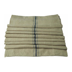 Grain Sack Table Runner - This beautiful table runner has a lovely, uneven texture with a smooth finish. It is a pale oatmeal color (with a slight touch of gold) with navy stripes down the center.