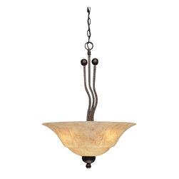 Toltec Lighting - Bronze Finish 3 Bulb Uplight Pendant with Italian Marble Glass - 3 medium base 60 watt bulb(s) (not included).