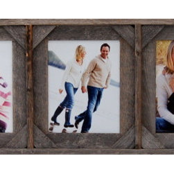 MyBarnwoodFrames - Collage Picture Frame 8x10 With 5 Openings and Cornerblocks - This  collage  picture  frame  is  a  variation  on  our  popular  plain  frame.  This  style  features  barnwood  cornerblocks  in  the  corners  to  give  it  a  little  bit  more  western  flair.          Product  Specifications:                  One  8x10  photograph  per  opening              Hangs  horizonally  and  vertically.  Photos  can  be  portrait  or  landscape  depending  on  hanging  orientation.              Dimensions:  Exterior  of   frame  measures  approximately  56  inches  wide  by  14  inches  high  by  1.75  inches  deep              Built  from  reclaimed  barnwood              Glass  and  hanging  hardware  are  included              Made  in  USA              This  collage  frame's  unique  design  makes  it  especially  sturdy.  We've  handcrafted  every  corner  and  seam  to  be  certain  that  your  frame  will  ship  well  and  withstand  generations  of  use.  One  of  the  best  things  about  a  collage  picture  frame  is  its  functionality.  Not  only  can  you  hang  it  as  is,  but  you  can  also  add  details  of  your  own:   A  unique  hanging  rod,  a  wash  of  colored  stain,  or  even  a  coat  of  paint.  This  multi-opening  frame  can  hang  horizontally  or  vertically,  so  it  makes  a  great  display  above  the  fireplace,  or  even  hanging  vertically  next  to  your  front  door.                  Include  five  of  your  child's  school  photos,  each  from  a  different  school  year              Multi-opening  frames  make  great  gifts  for  grandma  so  she  can  put  a  photo  of  each  of  her  grandchildren  in  a  single  frame.              Frame  something  completely  unique  by  removing  the  glass  and  turning  your  collage  frame  into  a  5-opening  shadowbox.              Create  a  unique  wall  hanging  for  a  child's  bedroom  or  a  bathroom  by  including  colorful  photos  or  illustrations.              View  our  complete  line  of  Collage  Picture  Frames  here.