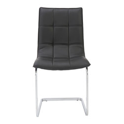 Euro Style - Euro Style Chad Side Chair Set of 2 02356BLK - Equally at home around a dining table or a conference table the chad side chair is a winner. Leatherette over foam is upholstered with a grid of shallow seams for added flexibility and comfort. You'll be glad you invited Chad to your event.