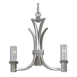 Uttermost - Uttermost Glacio 2 Light Kitchen Island Fixture - 2 Light Kitchen Island Fixture belongs to Carolyn Kinder Collection by Uttermost Low Voltage Collection Featuring Heavy Slabs Of Seeded Crystal, Held In Arching Arms Of Sleek Brushed Nickel Plated Metal. Kitchen Island Light (1)