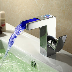Bathroom Sink Faucets - Contemporary LED Waterfall Bathroom Faucet - Chrome Finish--faucetsmall.com