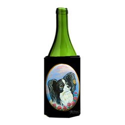 Caroline's Treasures - Black and White Papillon Wine Bottle Koozie Hugger - Black and White Papillon Wine Bottle Koozie Hugger Fits 750 ml. wine or other beverage bottles. Fits 24 oz. cans or pint bottles. Great collapsible koozie for large cans of beer, Energy Drinks or large Iced Tea beverages. Great to keep track of your beverage and add a bit of flair to a gathering. Wash the hugger in your washing machine. Design will not come off.