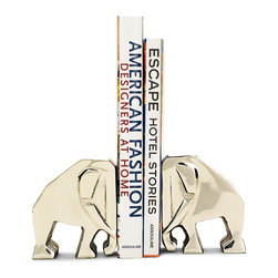 Elephant Bookends by C. Wonder - These elephant bookends will update any bookshelves while lending an air of fun.