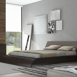 Waverly Bed by Modloft - The Waverly bed by Modloft contains a beautifully shaped wooden headboard that stretches all the way down to the wavey footboard. Durable and stylish available in Wenge (espresso) as pictured.