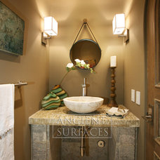 Mediterranean Powder Room by Ancient Surfaces