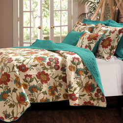 None - Clearwater 3-piece Quilt Set - Flowered vines grace this updated tropical quilt in gold, olive green, red and turquoise on an antique white ground while the fabric bound edges and reverse have an all-over solid turquoise color. The quilt is oversized for deep mattress coverage.