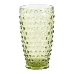 Saro - Hobnail Highball Glasses, Kiwi, Set of 4 - Hobnail Highball, Kiwi SET/4