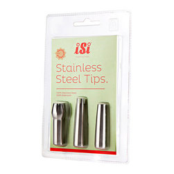 ISI - SS Decorator Tips- Set of 3 pack Polished SS - iSi Stainless Steel Tips are perfect to present cream, desserts, Espumas, sauces, soups and much more