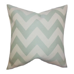 "The Pillow Collection - Diahann Chevron Pillow Jade 18"" x 18"" - Bold and exciting, this throw pillow offers texture and comfort to your living space. Adorned with a unique zigzag pattern in shades of jade green and white, this indoor pillow is great for your sofa, bed or seat. Constructed with 100% soft cotton material, this 18"" pillow is made in the USA. Hidden zipper closure for easy cover removal.  Knife edge finish on all four sides.  Reversible pillow with the same fabric on the back side.  Spot cleaning suggested."