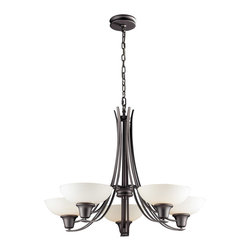 ELK Lighting - ELK Lighting 61055-5 Franklin Creek 5 Light Chandeliers in Graphite - Throughout history, the combination of glass and iron has always been associated with a design purity that transcends various decors. Finished in Dark Umber, the Franklin Creek collection utilizes gracefully flowing ironwork while low profile glass compliments this series smooth shapes and clean lines. Finished in Dark Umber with amber glass or Graphite with white glass.