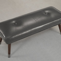 None - Kelly 48-inch Mid-century Charcoal Bonded Tufted Bench - This beautiful bonded leather bench offers mid-century modern styling. The metal foot caps and big button tufts seal the deal on this retro bench. This bench features slid wood legs with metal caps,upholstered in a retro charcoal colored bonded leather