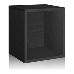 Way Basics - Way Basics Bookcases zBoard Eco 15.5 in. x 13.4 in. Black Stackable Storage - Shop for Storage & Organization at The Home Depot. Stackable Modular Storage-cubes Plus. Simple design solution and eco-friendly furniture. An excellent home organizer for modern living. Behold our most basic creation flexing its muscles. Truly modular in every sense of the word there are endless configurations and possibilities for the design guru. Each Cube is separate from each other so you can satisfy your design itch when you feel like changing things up a bit. Stack them side to side on top of each other or get creative and build a pyramid and ladder design. Mix and match colors or just keep it simple with a single shade. Check out the additional images for ideas and send us your creations too. To assemble zBoard storage products simply peel stick done. Tool-free and hardware free. Super strong 3M heavy duty adhesive bonds the boards together. All our products are formaldehyde free and VOC free so it's safe for your family and our environment. Color: Black.