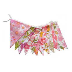 Retro Pink/Orange Floral Flag Bunting by Merry-Go-Round
