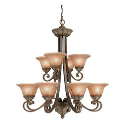 """Dolan Designs - Dolan Designs 822 12 Light Up Lighting Chandelier Windsor Collection - *Twelve light two tier Dolan Chandelier finished in Santa Fe Features Amber glass shades. Canopy is 6"""" in diameter"""
