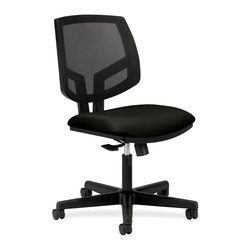 HON - HON Volt Seating Mesh Task Chair - Black - Fabric Black Seat - Plastic Back - Volt task chair offers a unique combination of style, scale, comfort and functionality. Its real value is in its flexibility with the ability to work in virtually any environment. The larger fabric seat and natural cooling of the mesh back provide maximum comfort, and the 360-degree swivel mechanism with tilt, tilt-lock and tilt tension options allow you to adapt the chair to your personal needs. Tilt tension controls the amount of resistance felt as you lean back, accommodating a variety of tasks and body types. Tilt lock keeps the chair in an upright position when necessary. Swivel/tilt allows the chair to recline effortlessly, promoting movement and comfort throughout the day. This ergonomic task seating design includes a generously proportioned seat cushion and 2-1/2 hooded, dual-wheel casters. Chair also features a plastic outer back and black frame. Chair meets or exceeds applicable ANSI/BIFMA and ISTA performance standards. Height-adjustable arms are sold separately.