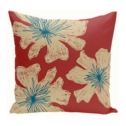 e by design - Floral Red and Beige 20-Inch Cotton Decorative Pillow - - Decorate and personalize your home with coastal cotton pillows that embody color and style from e by design   - Fill Material: Synthetic down  - Closure: Concealed Zipper  - Care Instructions: Spot clean recommended  - Made in USA e by design - CPO-NR18-Buddha_Ginger_Teal-20