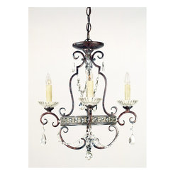 Quoizel - Quoizel QMC402RL Seville Traditional Mini Chandelier - Mini Chandeliers are the perfect accent for a powder room, hallway, bedroom, or any other nook you want to look fabulous.  Sparkling crystals and a rich finish add dramatic style to your smaller rooms.  This piece can be mounted flush against the ceiling, or hung from the decorative chain.