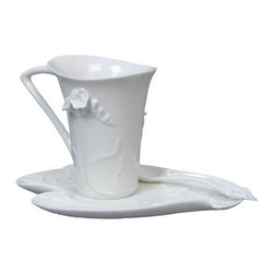 US - 6.75 Inch Glazed Porcelain All White Freesia Coffee Set with Spoon - This gorgeous 6.75 Inch Glazed Porcelain All White Freesia Coffee Set with Spoon has the finest details and highest quality you will find anywhere! 6.75 Inch Glazed Porcelain All White Freesia Coffee Set with Spoon is truly remarkable.