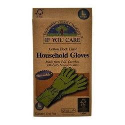 If You Care Household Gloves - Large - 1 Pair - If You Care Household Gloves are made from Forest Stewardship Council (FSC) latex, meaning that the natural rubber is sourced from an environmentally responsible plantation. The gloves are naturally biodegradable and made from 100% renewable resources. They are perfect for dishwashing, oven cleaning, and bathroom or other house cleaning tasks. The product packaging is also made of 100% recycled materials. Size Large.