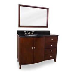 "48"" Understated elegance vanity - This 48"" wide solid wood vanity features a rich mahogany finish and polished nickel hardware. The clean lines, cabriole feel and elegant bow front shape add understated elegance. A large cabinet and offset bank of fully functional drawers, equipped with full extension soft close slides, provide ample storage. This vanity has a 2.5CM black granite top preassembled with an  (17"" x 14"") bowl, cut for 8"" faucet spread, and corresponding 2CM x 4"" tall backsplash. Overall Measurements: 48"" x 23"" x 36"" (measurements taken from the widest point"